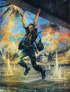 Painting by Col. Charles Waterhouse of John Ripley dangling above the Cua Viet River as angry North Vietnamese soldiers fire upon him.