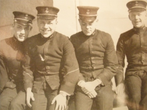 "Francis Droit ""Bud"" Ripley (left of center) was all smiles as a Naval Academy midshipman with his friends. His joy was later turned to sorrow when he was expelled for missing his boat in Hawaii."