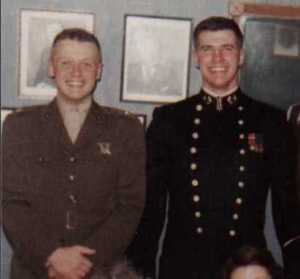 John Ripley (right) as a Naval Academy midshipman with his brother Michael who died while test flying the Harrier.